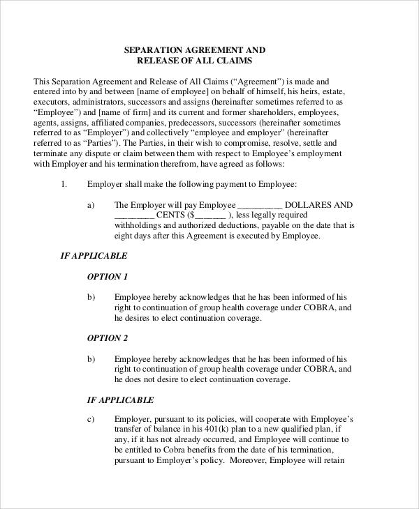 standard employee separation agreement