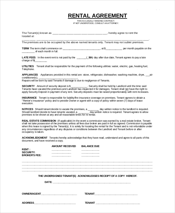 basic apartment rental contract