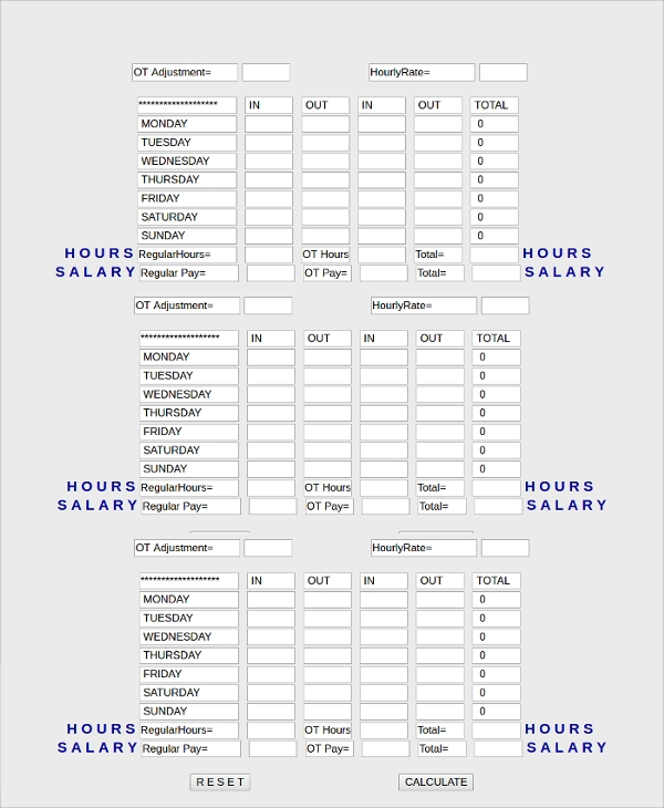 Sample Time Card Calculator   Documents In Pdf Excel