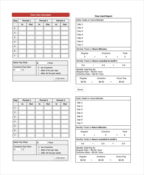 Sample Time Card Calculator Monthly Time Sheet Calculator Templates