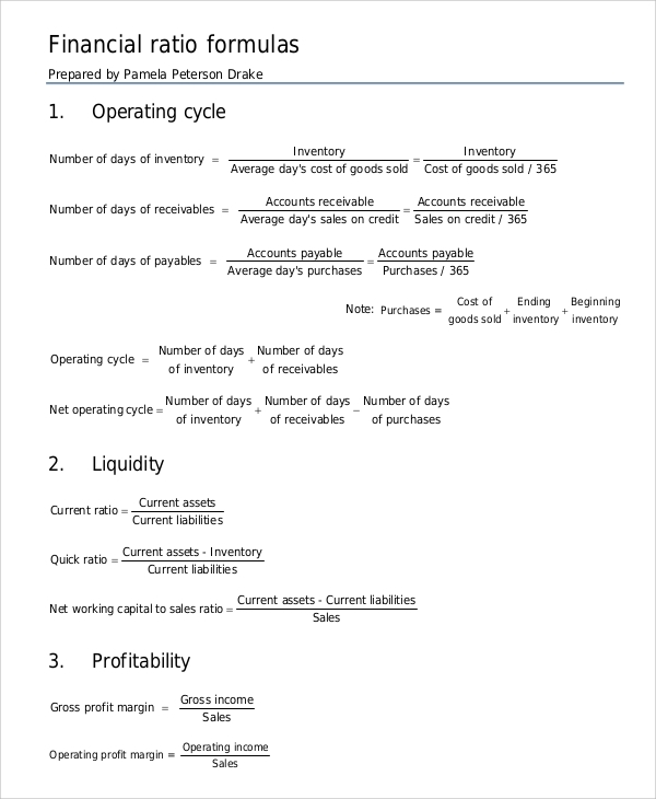 Sample Financial Ratios Analysis   Documents In Pdf