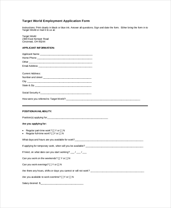 Sample Target Application Form 5 Documents in PDF Word – Target Application Form