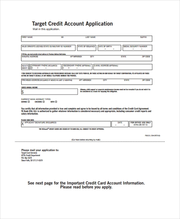 Sample Target Application Form   Documents In Pdf Word