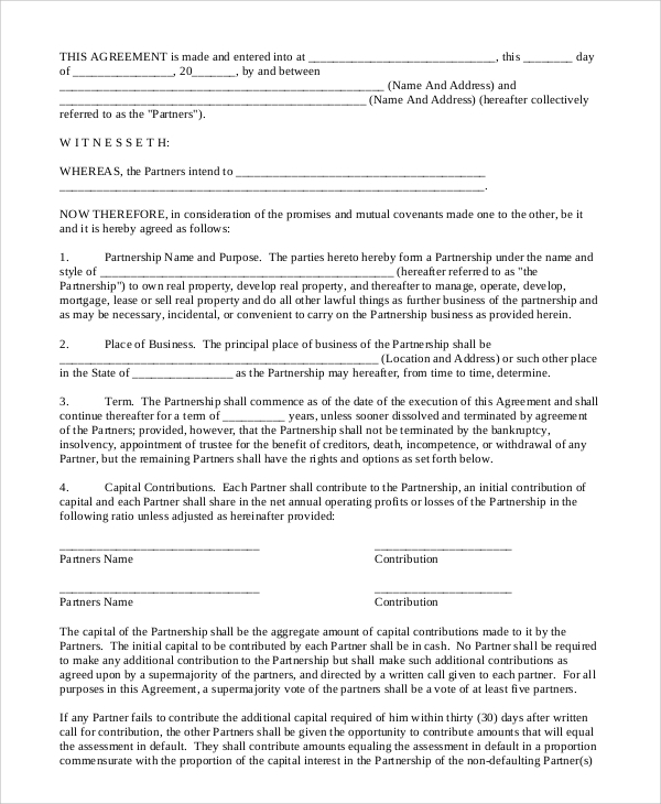 Sample Business Partnership Contract   Documents In Pdf