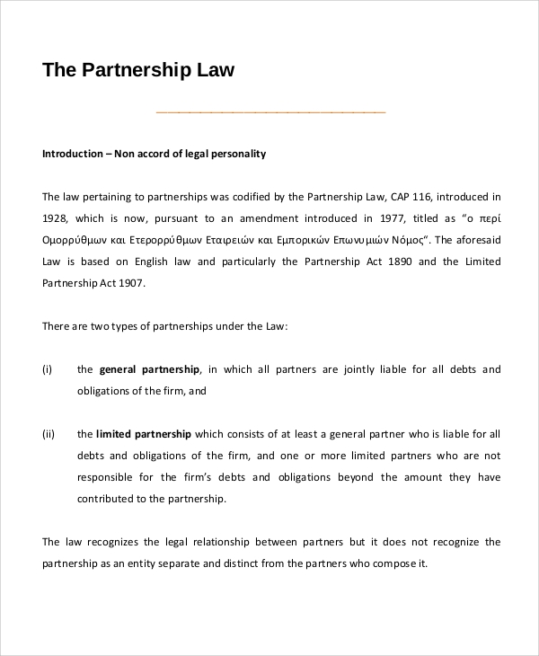 business law partnership contract