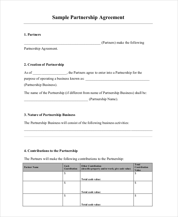 Sample Business Partnership Contract 6 Documents in PDF – Business Partnership Contract