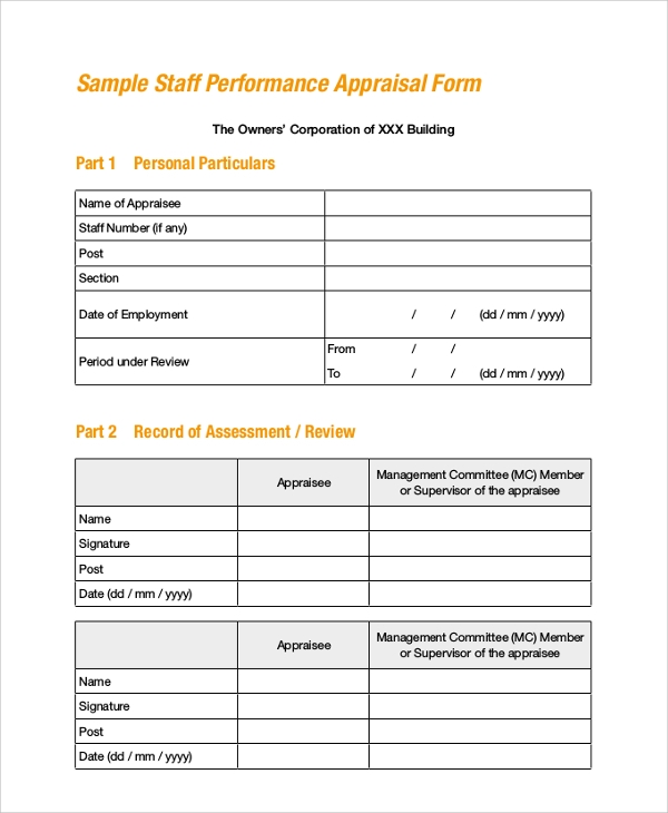 Sample Employee Appraisal Form 7 Documents in PDF Word – Staff Appraisal Form Template