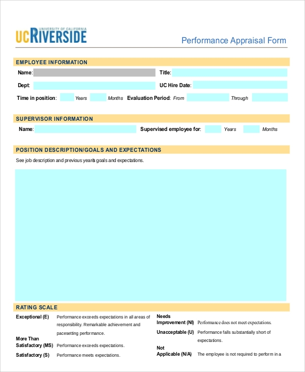 Sample Performance Appraisal Form   Documents In Pdf