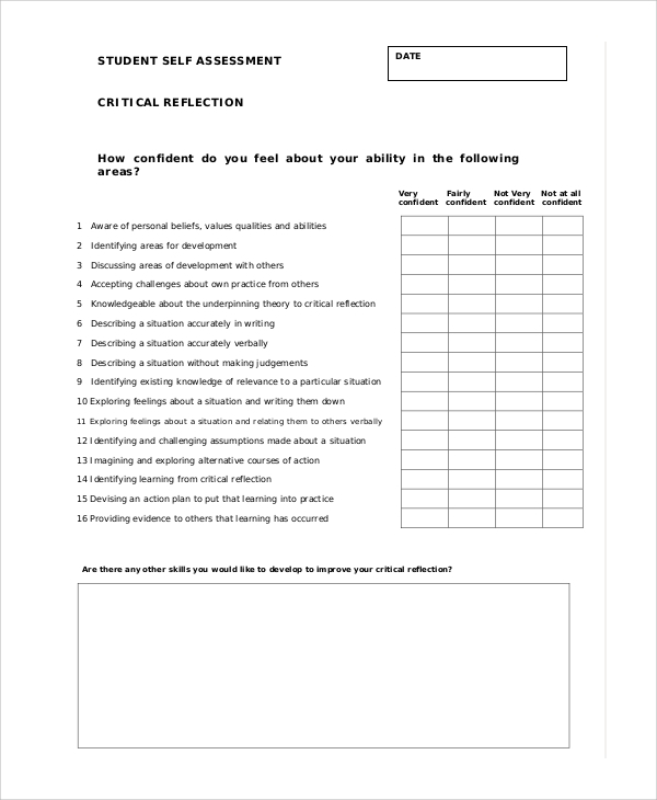 Sample Student Self Assessment   Documents In Pdf