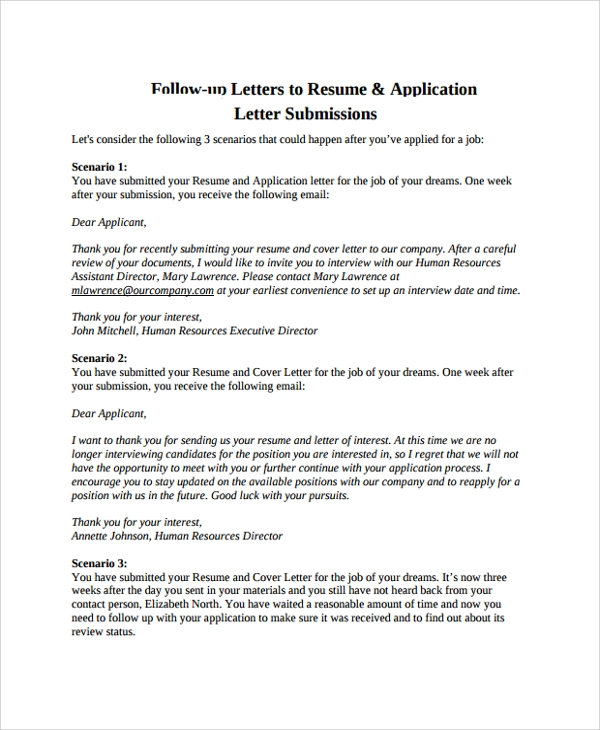follow up letters to resume application