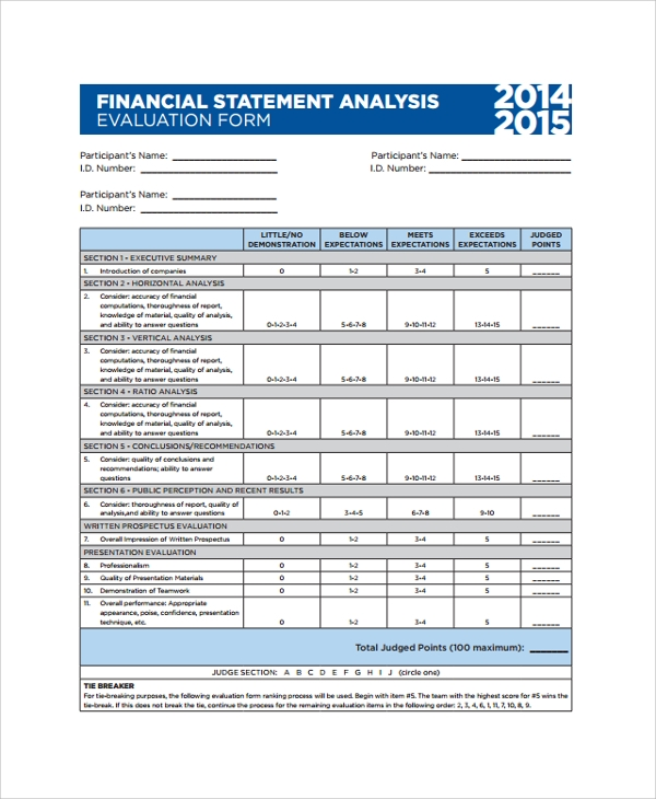 financial analysis statement evaluation form