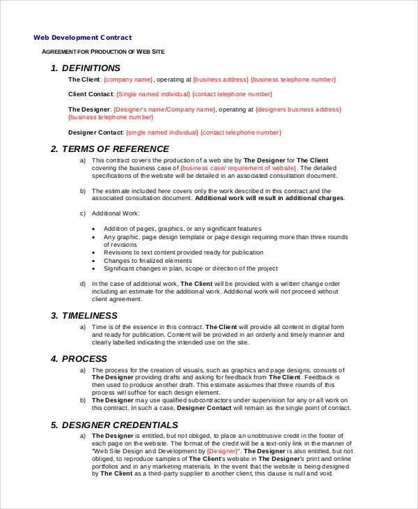 Sample Website Development Agreement   Documents In Pdf Word