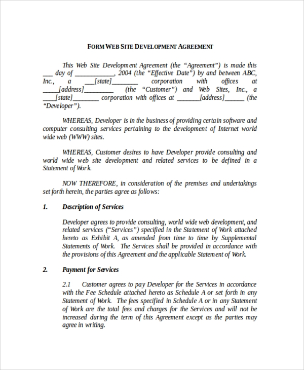 website development agreement form