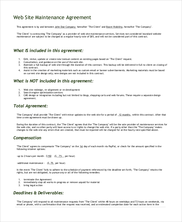 website development and maintenance agreement
