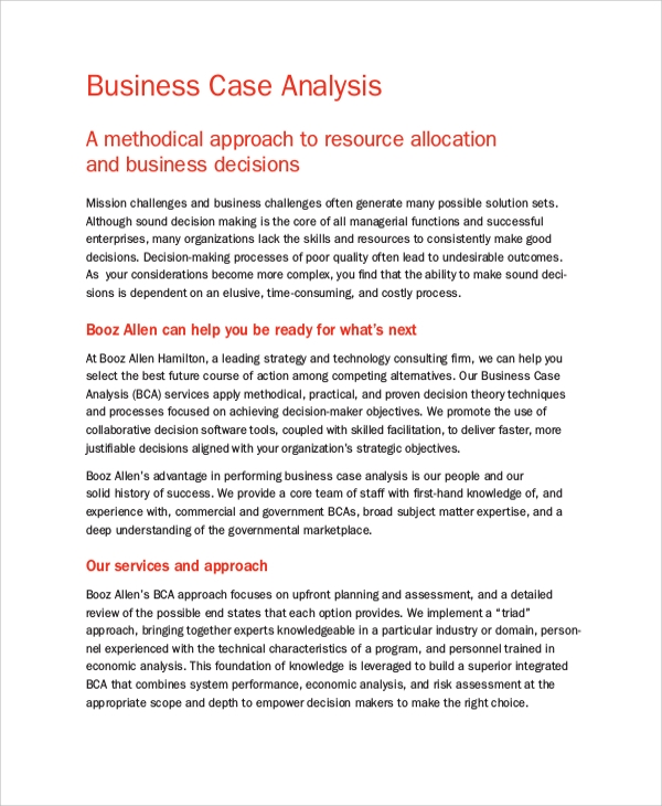 Sample Business Case Analysis   Documents In Pdf