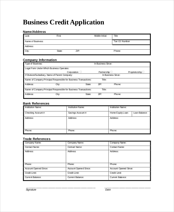 Sample Credit Application Form   Documents In Pdf Word