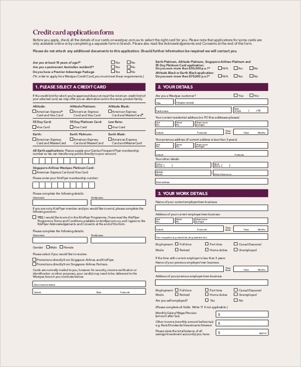 9 sample credit application forms sample templates reheart Choice Image