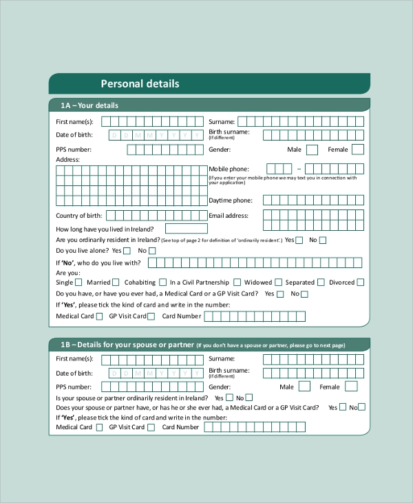 medical card visit application form