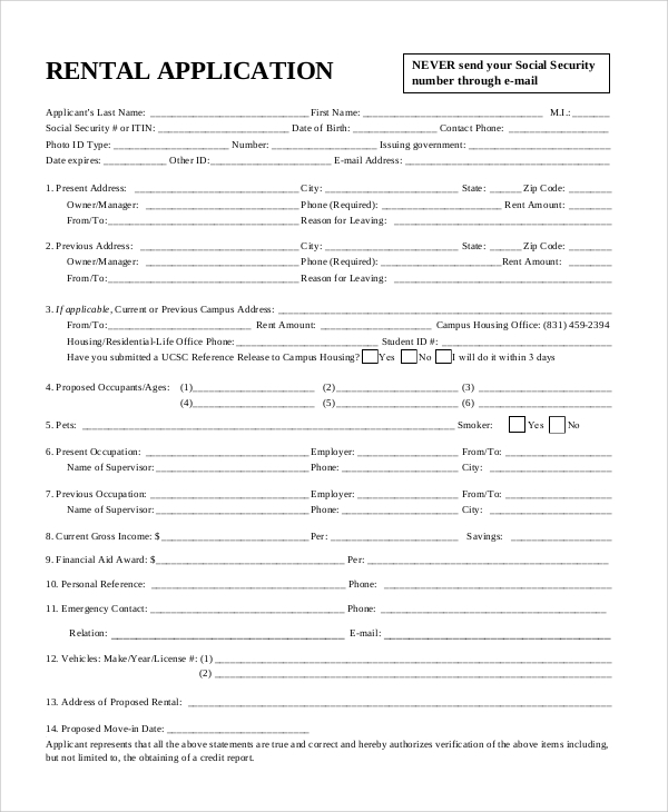 Sample Rental Application Form   Documents In Pdf Word