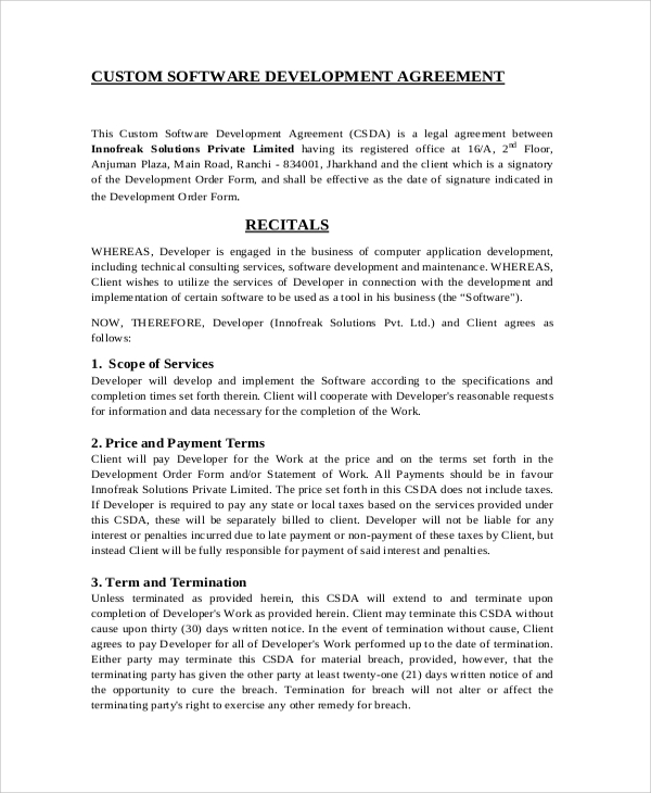 Sample Software Development Agreement   Documents In Pdf Word