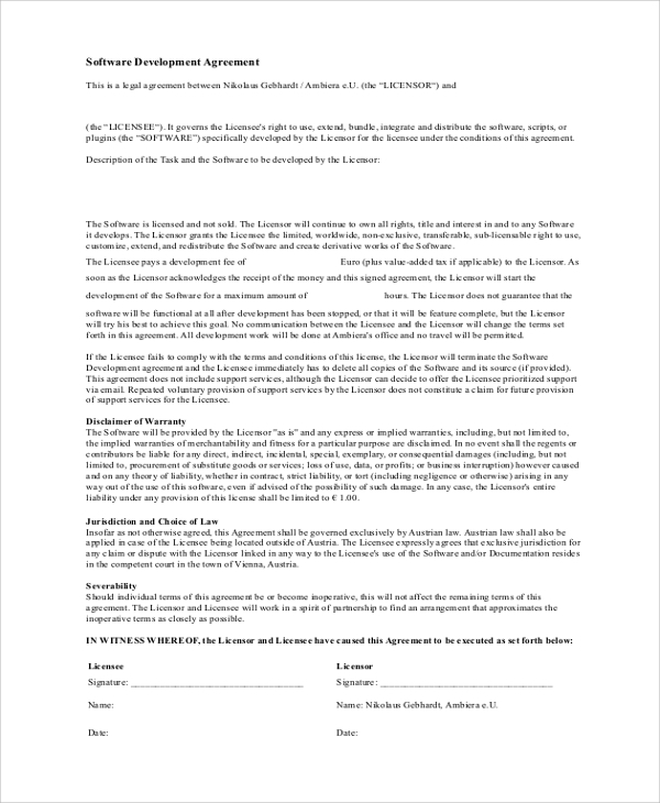 software development legal agreement