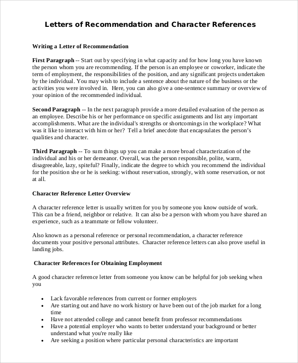 letter of recommendation for character reference