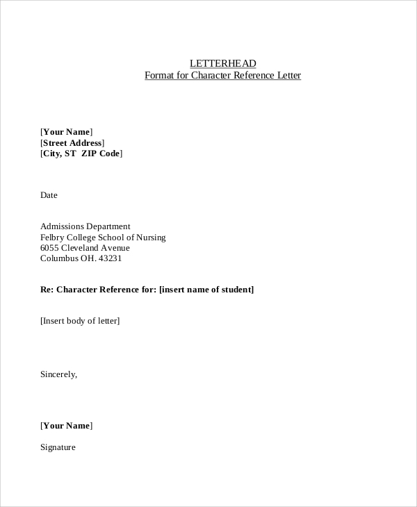 Sample Character Reference Letter 9 Examples in Word PDF – Format for Character Reference Letter
