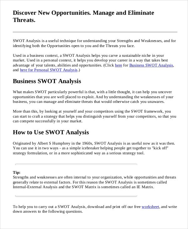 Sample Business Swot Analysis   Documents In Pdf