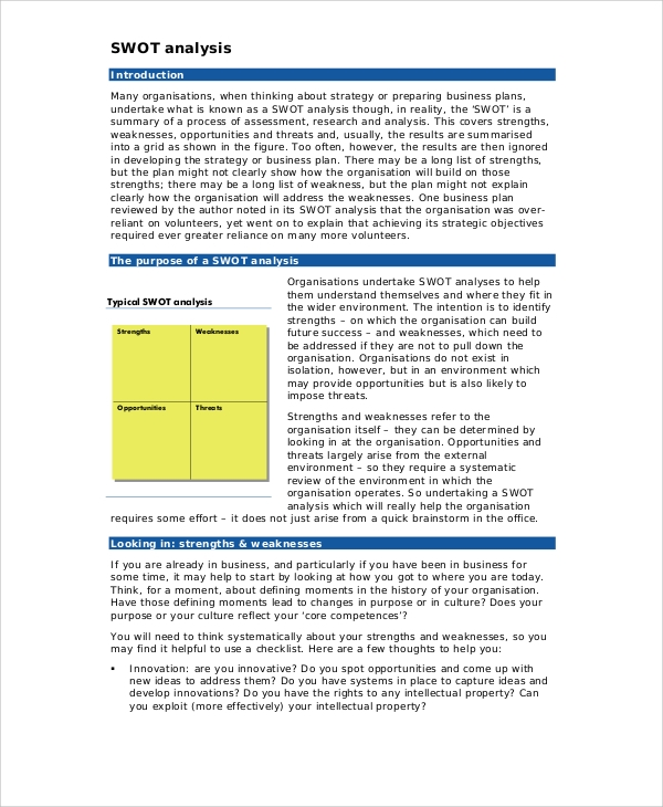 Sample Business Swot Analysis - 5+ Documents In Pdf