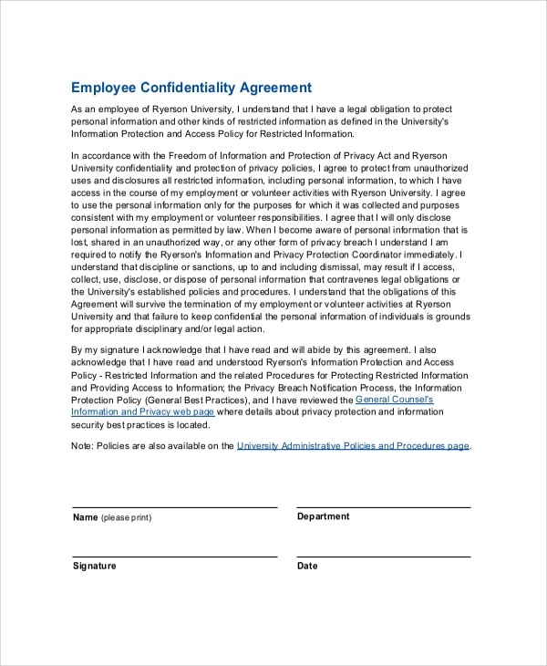 Standard Confidentiality Agreements | Sample Employee Confidentiality Agreement 7 Documents In Pdf Word