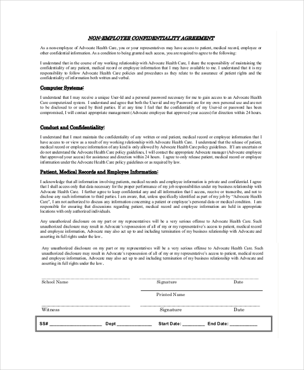 8 sample employee confidentiality agreements sample templates. Black Bedroom Furniture Sets. Home Design Ideas