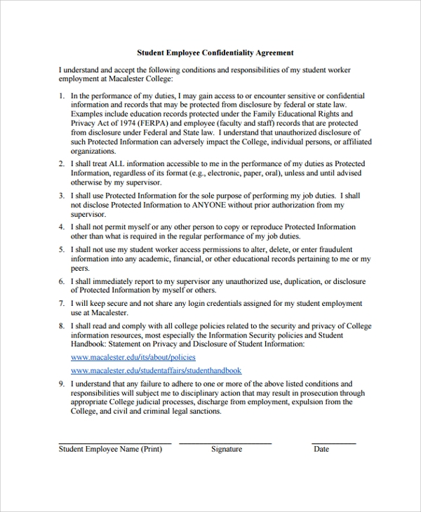 Confidentiality Agreement U2013 Restaurant Owner A Staff Confidentiality  Agreement Is An Agreement Made Between STAFF MEMBER And The OWNER Of A  Company Or ...