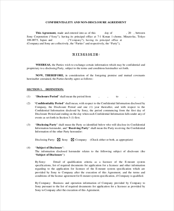 Sample Employee Confidentiality Agreement 7 Documents In Pdf Word