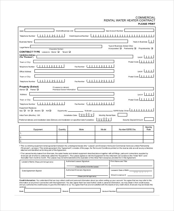 Sample Commercial Rental Agreement   Documents In Pdf Word