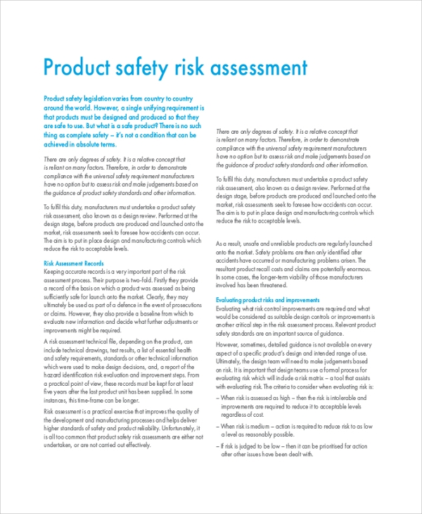 product safety risk assessment1