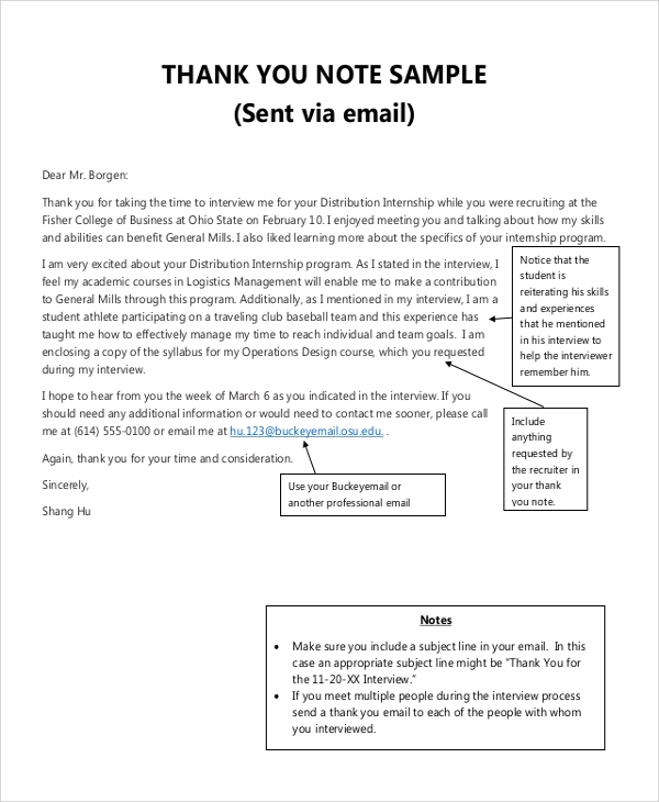 Sample Thank You Note   Examples In Word Pdf