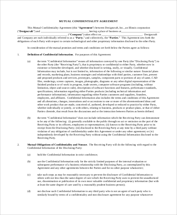 Sample Standard Confidentiality Agreement   Documents In Pdf Word