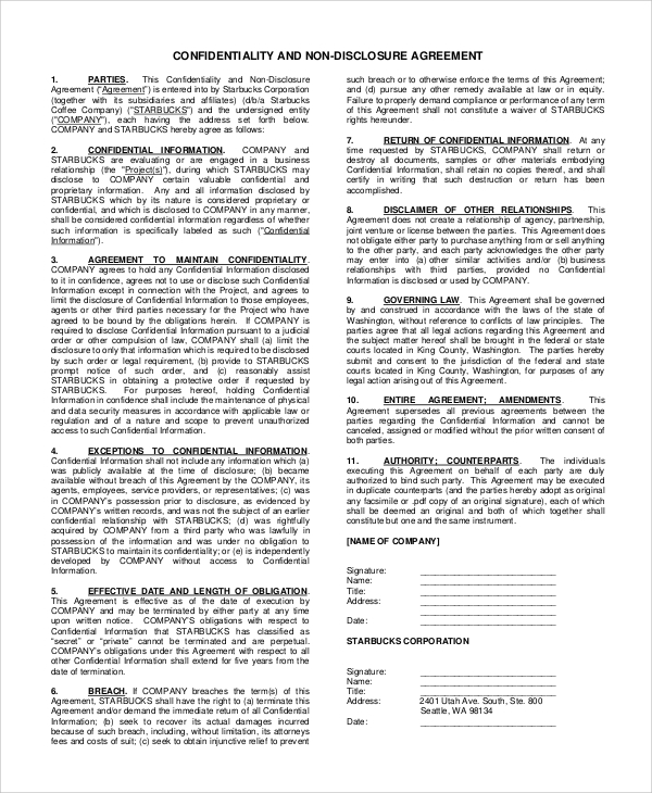 standard confidentiality and nondisclosure agreement