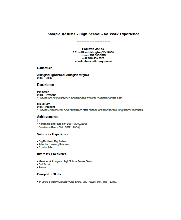Free 8 Sample High School Student Resume Templates In Ms