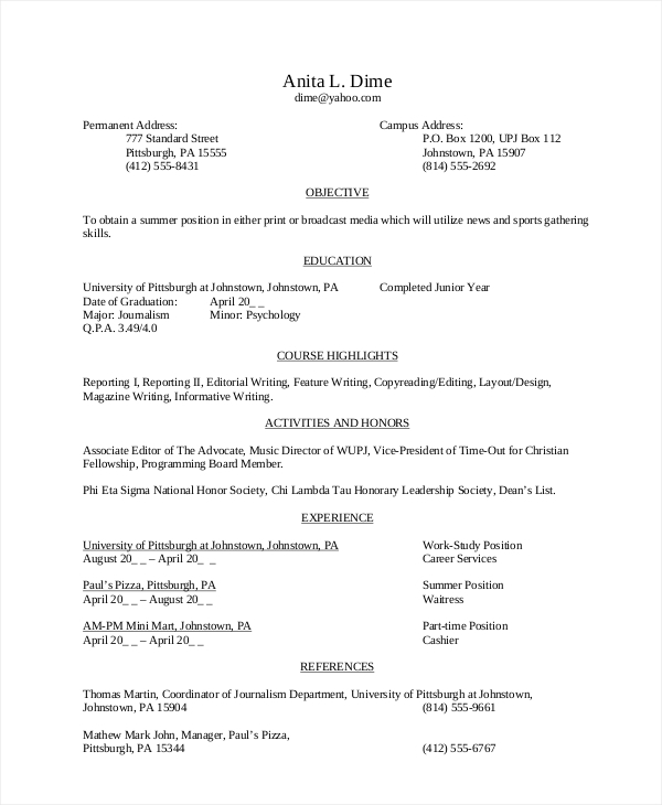 High school student resume objective