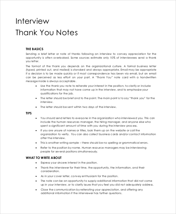 Sample Thank You Note 9 Examples in Word PDF – Thank You Note Sample