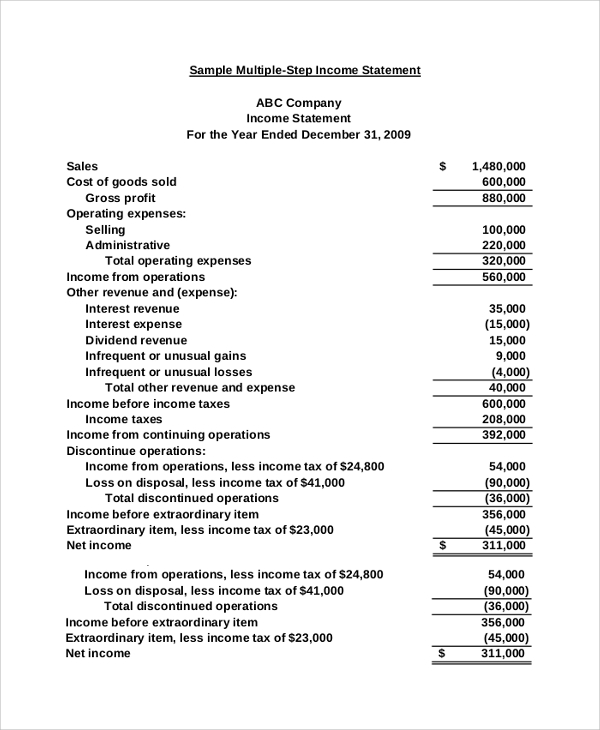 Sample Traditional Income Statement   Documents In Pdf Word