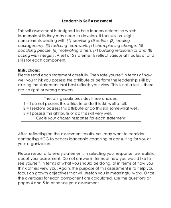 Free 8 Sample Leadership Self Assessment Templates In Pdf