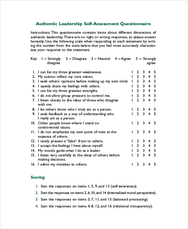 Employee Self Assessment Questionnaire - Hlwhy