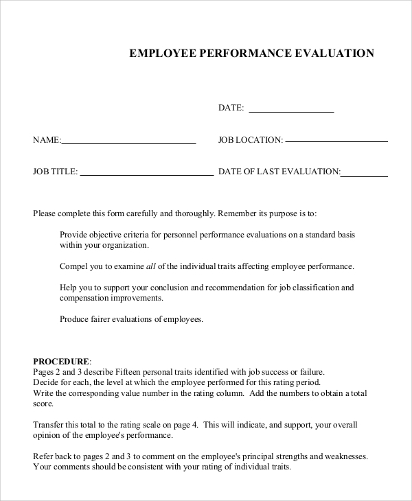 Sample Job Performance Evaluation   Documents In Pdf Word