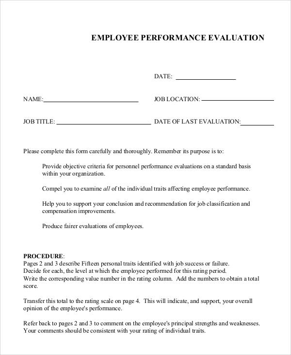 employee job performance evaluation