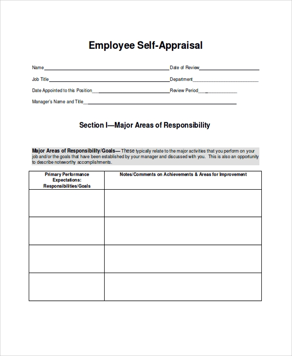job performance self evaluation