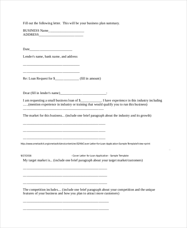 business loan proposal cover letter
