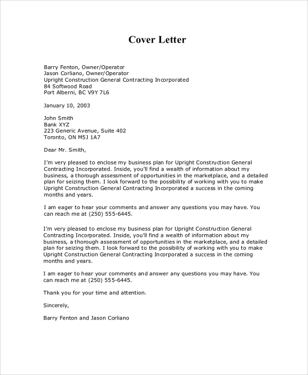 Sample Cover Letter For Business Plan Sample Business Proposal