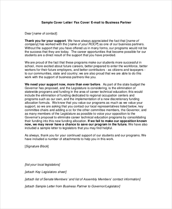 8  sample business proposal cover letters